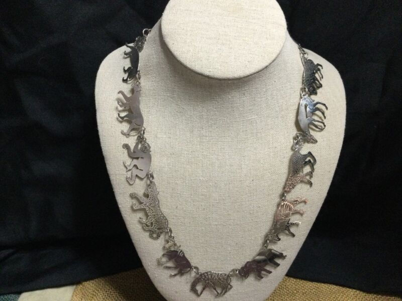 "Beautiful Wild Bryde African Animals Silver Tone Necklace - 22"" long"