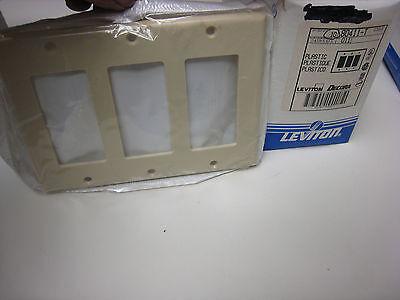 3-Leviton 80411-00T Decora Rocker/GFCI Wall Plate, 3 Gang, Light Almond ()