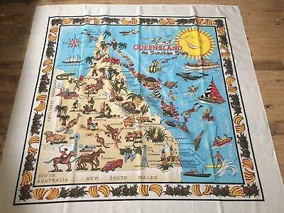 Vintage Queensland Australia Table Cloth  UNUSED