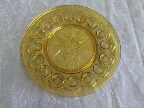 "1x Moon and Stars LE Smith Glass Amber Gold HTF 8"" Round Plate Vintage"