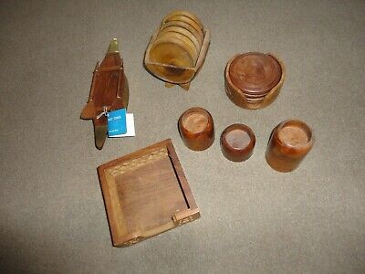 JOB LOT OF TEEN WOODEN 2 x COASTER SETS  ROWING BOAT 3 x CANDLE HOLDERS NOTE BOX