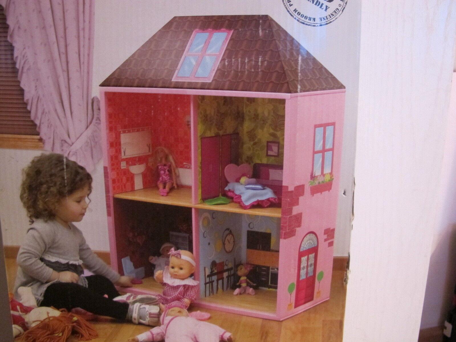 krooom puppenhaus dollhouse bookcase gro es puppenhaus aus pappe neu eur 29 77 picclick de. Black Bedroom Furniture Sets. Home Design Ideas