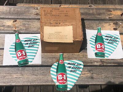 Vintage B-1 Lemon Lime Soda Vacuform Bottle Sign W Original Box Set Of 3