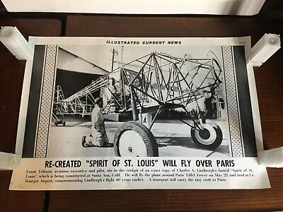 Illustrated Current News Photo Re-Created Spirit of St. Louis Lindbergh Tallman