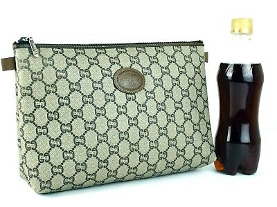 Authentic GUCCI GG Plus PVC Leather Beige Clutch Bag Hand Bag Pouch Vintage good