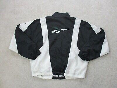 VINTAGE Reebok Jacket Adult Large Black Green Coat Windbreaker Mens 90s *