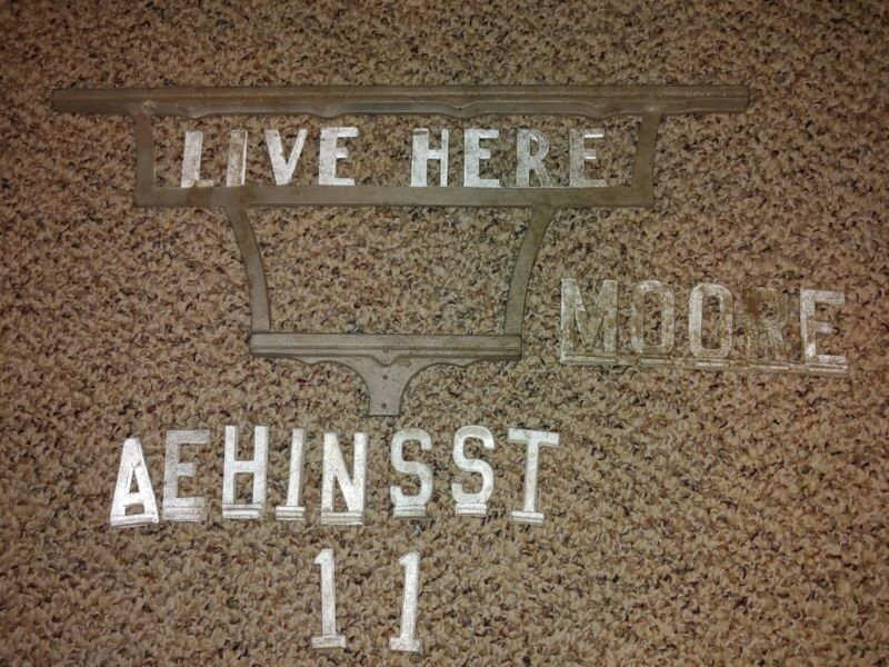 Vintage 50s/60s Aluminum,Live Here Sign,House Numbers,Letters,Moore,Name,Address
