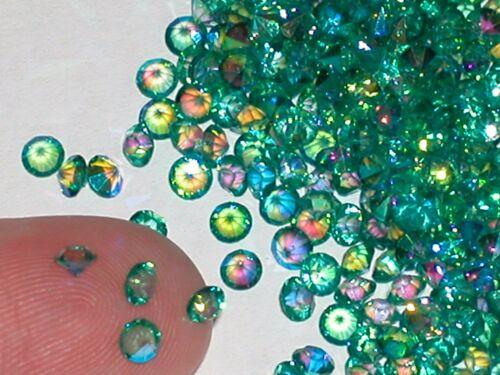 30pc Tiny little Mermaid Crystals rhinestone fairy gems 3mm AB Peacock Green