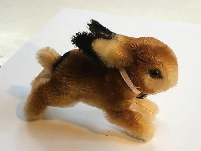 "VINTAGE 5"" LONG STEIFF JUMPING BUNNY WITH BELL AND BUTTON VERY RARE!"