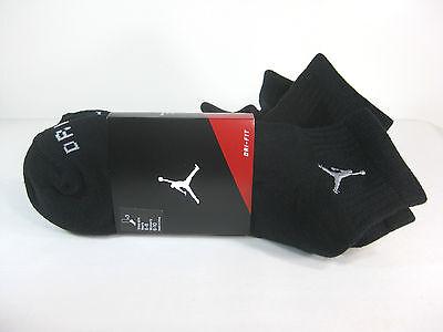 Dri Fit Low Quarter Socks - JORDAN MENS DRI-FIT LOW QUARTER 3 PACK SOCKS Black/Matte Silver -546480 012-