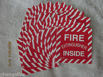 Lot Of 20 Fire Extinguisher Inside Self-adhesive Vinyl Signs...4 X 4 New