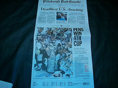 2016 Stanley Cup Newspaper Pittsburgh Post Gazette  Pens   Sharks