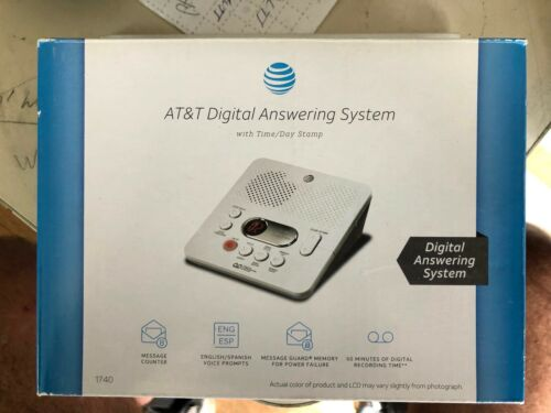 AT&T 1740 60-Min Digital Answering System With Time and Day Stamp (White) -- NEW