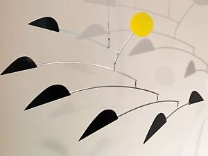 Hanging Mobile Modern Art Sculpture Mid-Century Mobile Aluminum  BlackBIRDS
