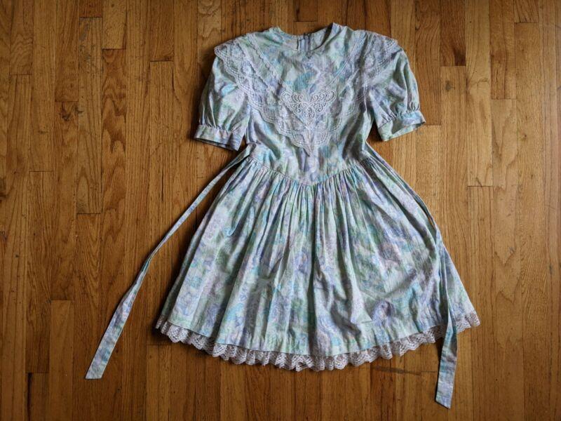 Vintage 1980s 1990s Gunne Sax Jessica Mcclintock Blue Calico Floral Dress Size 7
