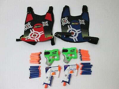 Nerf Gun Dart Tag Elite 4 Pistol Lot-Double Sided Vests & Ammo Darts FUN Combo