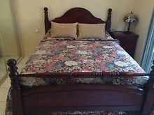 Timber double bed & bedside Mount Warrigal Shellharbour Area Preview