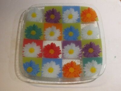 Fused Glass Platters - Peggy Karr Large Fused Glass Daisy Cosmos Flower Platter, Signed