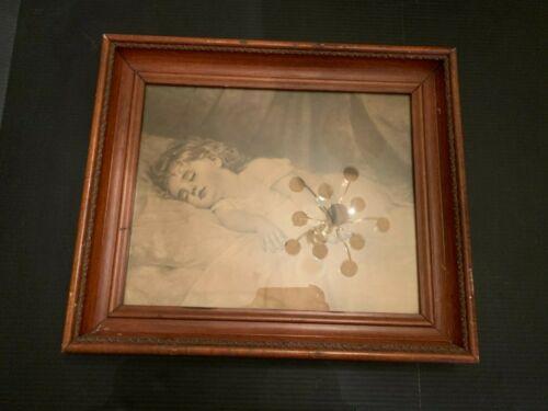 Antique Sleeping Girl Child Print In Ornate Wooden Frame