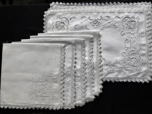 Punto Trafore Northern Italy Whitework Embroidery Five Napkins Five Placemats