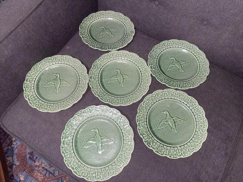 "Set of 6 BORDALLO PINHEIRO Green Duck Pattern Salad Plate  8-1/8"""