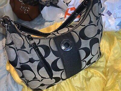 Authentic COACH LOGO Canvas Tote Handbag Purse Shoulder Bag Medium/Large