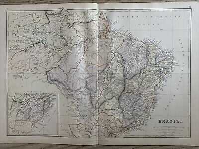 1882 BRAZIL ORIGINAL ANTIQUE COLOUR MAP BY W.G. BLACKIE 138 YEARS OLD