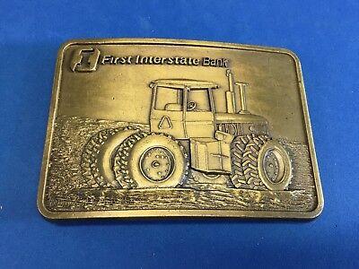 Vintage   First Interstate Bank Tractor Corn Belt Buckle Signed Rj