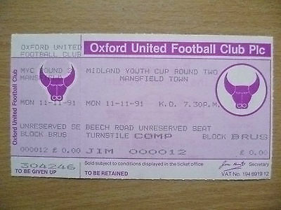 Tickets: Midland Youth CUP 2nd RD- MANSFIELD TOWN, 11 Nov 1991