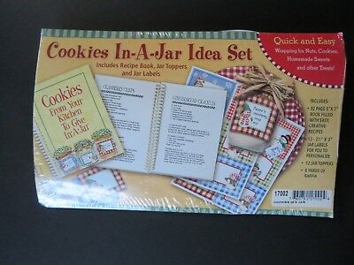 New Cookies In-A-Jar Idea Set~Recipe Book, Jar Labels, Raffia ~ Christmas (N6) (Christmas In A Jar)