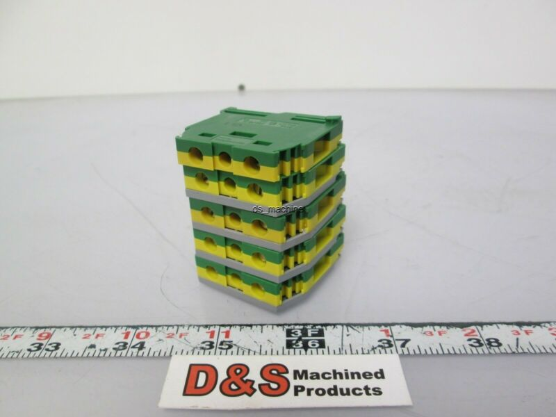 Lot of 5 Entrelec 5114 M6/8P Grounding Terminal Block w/ 4 FEM 6 End Caps