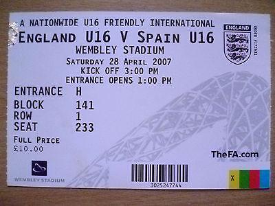 Ticket- 2007 Friendly International U16 - ENGLAND U16v SPAIN U16, 28 April