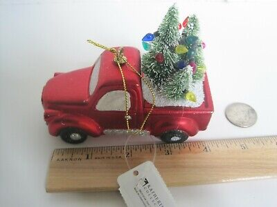 Katherine's Collection Red truck with decorated Christmas trees ornament NWT