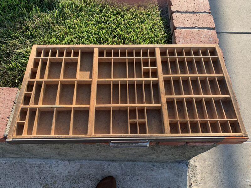 Vintage Hamilton Type Set Printers Drawer Tray Display Shadow Box 174