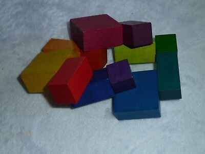 RAINBOW COLOR ELASTIC BAND WOOD WOODEN BLOCK TOY CHILD OR ADULT PUZZLE DECOR