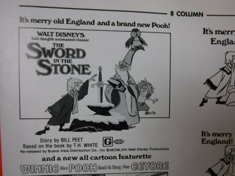 THE SWORD IN THE STONE Movie Mini Ad Sheet Vintage Advertising Poster Disney