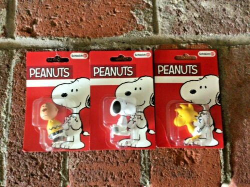 3 New Sealed Schleich Peanuts Figures Charlie Brown Snoopy & Woodstock