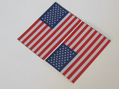 "American Flag Small  Helmet Decal Sticker  (2"" X 3.25"" REFLECTIVE) set of 2"