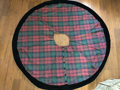 VTG EXPOSURES Red Green Tartan Plaid Black Velvet Holiday Christmas Tree Skirt