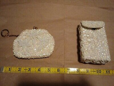 HTF Vintage Hand Beaded Sequined Cigarette Case Coin Bag Purse Clutch Made in (Hand Beaded Clutch)