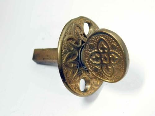 Antique Victorian Ornate Bronze Thumb Turn for Mortise Lock Set Circa 1885