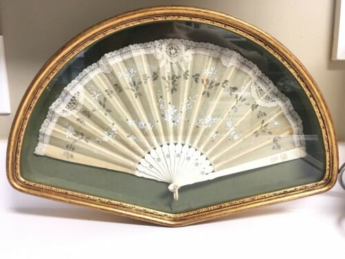 Exquisite Antique C.18th Century Victorian Hand Painted Lace  Fan Framed