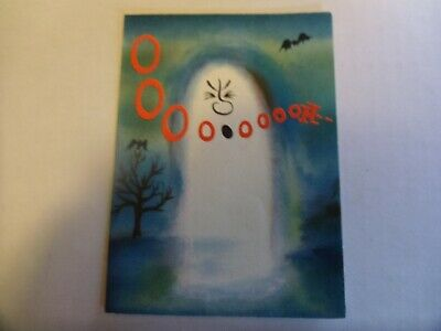 Vintage Halloween Hallmark Card with Ghost and Bats Ooooooo!
