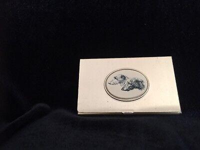 Vintage Barlow Business Card Holder-scottish Deerhound Head Study