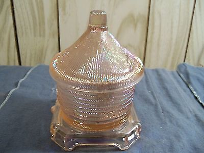Imperial Pink Iridescent Carnival Glass Bee Hive Honey Pot Jar Trinket Box