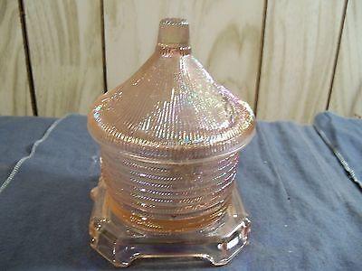 Imperial Pink Iridescent Carnival Glass Bee Hive Honey Pot Jar Trinket Box