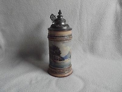 Alter Bierhumpen - Steinzeugkrug mit Zinndeckel um 1900