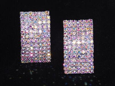 Iridescent Crystal - Silver AB Iridescent Rhinestone Crystal Arch Bridal Clip Earrings