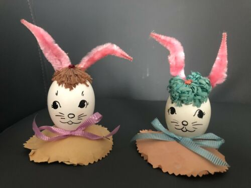 Vintage Easter Decorated Blown Real Eggs Painted w/ Bunny Rabbit Faces 1950's