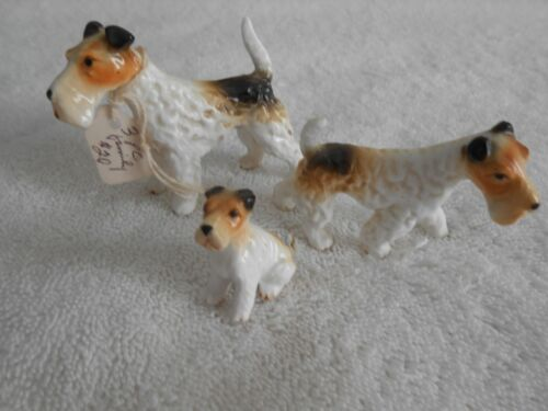 Darling Vintage Family of 3 Wire Fox Terrier Figurines, Beautiful Detail